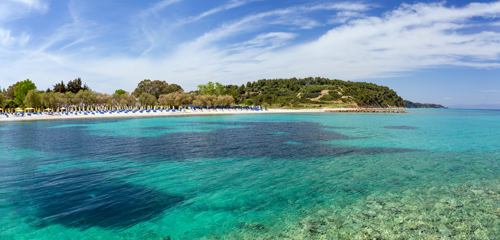 Panoramic view of Kalithea beach in Kassandra